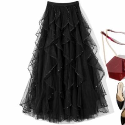 シフォンスカート aラインスカート ロングフレアスカート 大きいサイズ マキシスカート かっこいいスカート 長いスカート 着痩せスカート
