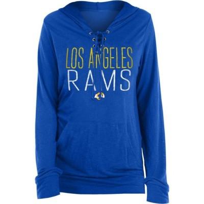 ニューエラ New Era レディース パーカー トップス Los Angeles Rams Lace Hood Navy Long Sleeve T-Shirt