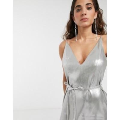 エイソス レディース ワンピース トップス ASOS WHITE metallic strappy belted mini dress Silver