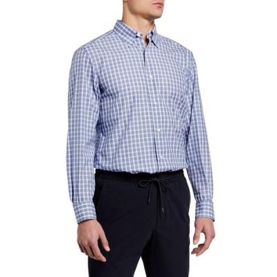 エルメネジルド・ゼニア メンズ シャツ トップス Men's Medium Check Regular-Fit Sport Shirt
