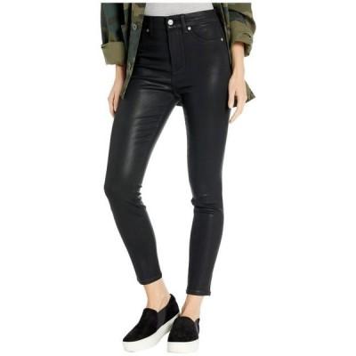 レディース パンツ High-Waist Ankle Skinny Faux Pocket in Black Coated