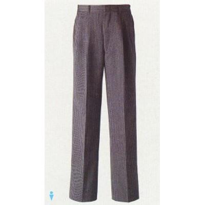 DL2906 男性用 ツータックパンツ 黒×グレー セブンユニフォーム ポリエステル70%・毛30% 縞コール