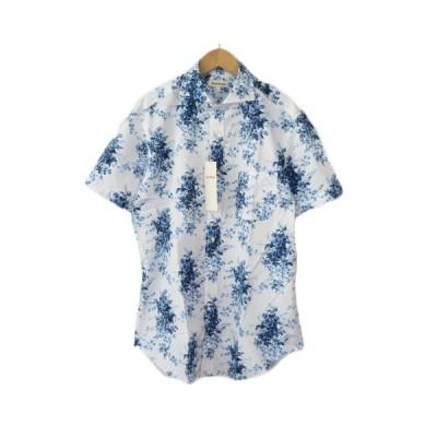 【中古】未使用品 ポールスチュアート PAUL STUART シャツ 花柄 ホリゾンタルカラー 半袖 L 青 ブルー メンズ 【ベクトル 古着】
