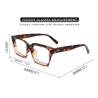 FEISEDY Retro Oprah Square Blue Light Blocking Reading Glasses Anti Gl