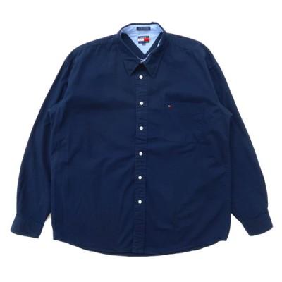 TOMMY トミーヒルフィガー ボタンダウンシャツ 長袖 ワンポイント ネイビー サイズ表記:XL