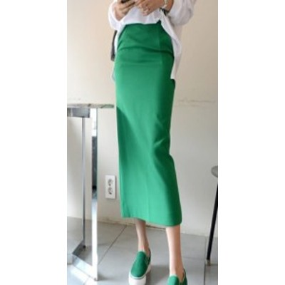 タイトスカート ハイウェストスカート コットン ミモレ丈 大きいサイズ ゆったり グリーン 大人女子 10代 20代 30代 お出かけ デート 可