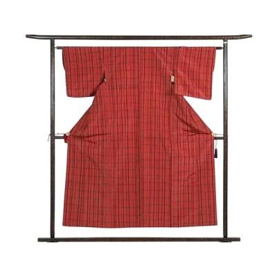 リサイクル着物 紬 正絹赤地格子柄袷紬アンサンブル