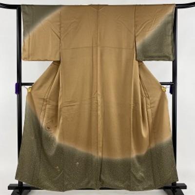 訪問着 秀品 草花 金糸 刺繍 黄土色 袷 身丈158cm 裄丈64.5cm M 正絹 中古