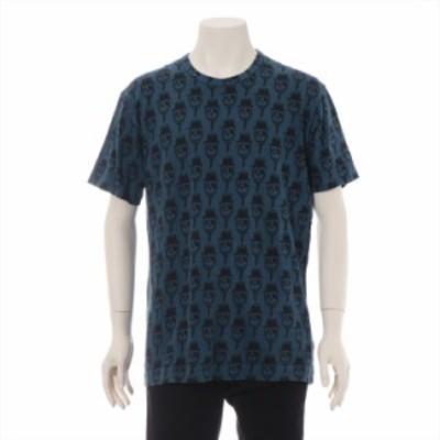 コムデギャルソンオムプリュス コットン Tシャツ L メンズ ブルー スカル AD2010
