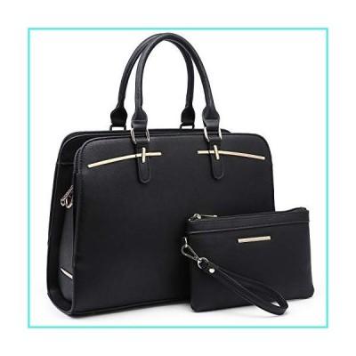 【新品】Dasein Women Satchel Handbag Shoulder Purse Top Handle Work Bag Tote Bag With Matching Wallet (Black)(並行輸入品)