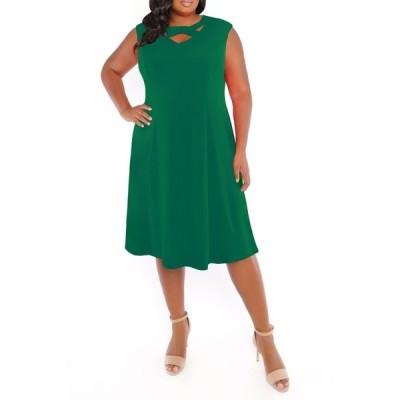 ロンドンタイムス レディース ワンピース トップス Neck Detail Fit & Flare Dress GREEN