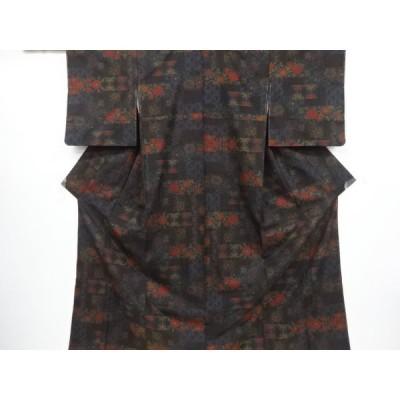 宗sou 未使用品 幾何学に花模様織り出し本場泥大島紬着物(5マルキ)【リサイクル】【着】