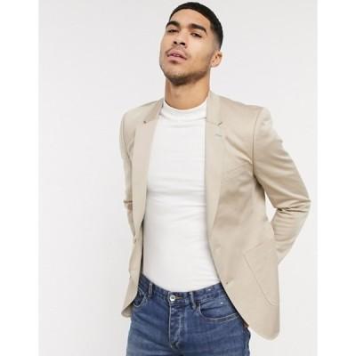 エイソス メンズ ジャケット・ブルゾン アウター ASOS DESIGN skinny blazer in stone cotton