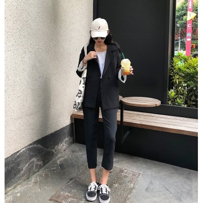 雑志で绍介されました★韓国ファッション 半袖 ブレザー+スリム ワイドレッグパンツ