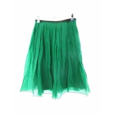 【中古】ロペ ROPE スカート フレア ひざ丈 シルク混 無地 38 緑 グリーン /M2 レディース