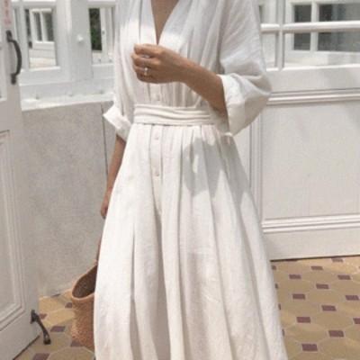 シャツワンピース ナチュラル ロングワンピ 夏ワンピ Vネック 韓国ファッション 韓国ワンピース