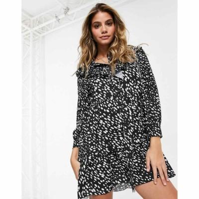 アイソウイットファースト I Saw It First レディース ワンピース シャツワンピース Spot Print Frill Detail Shirt Dress In Black ブラック