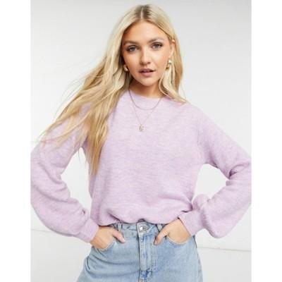 ピーシーズ レディース ニット・セーター アウター Pieces sweater with balloon sleeve in lilac