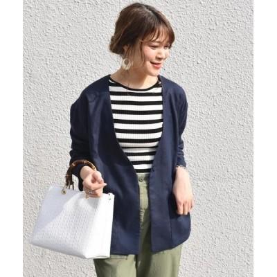 SHIPS for women/シップスウィメン ノーカラーシャツジャケット◇ ネイビー ONE SIZE