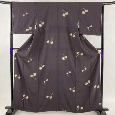 小紋 美品 秀品 葉柄 濃紫 袷 163cm 64cm M 正絹 中古