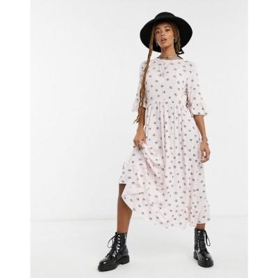 ロココ Rokoko レディース ワンピース マキシ丈 ワンピース・ドレス Maxi Smock Dress With Frill Hem In Vintage Daisy Print