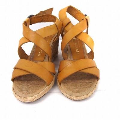 【中古】LE CRABE ROUGE 靴 シューズ サンダル ストラップ クロス ウエッジソール 35 レモン 黄 /FT21 レディース 【ベクトル 古着】