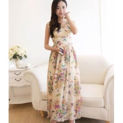 マキシ丈 ワンピース シフォン 花柄 ドレス お呼ばれ  春物 夏物 最新 レディース ファッション2020 人気 可愛い 大人