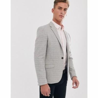 リバーアイランド River Island メンズ スーツ・ジャケット アウター blazer in grey check グレー