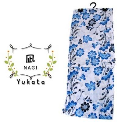 浴衣 レディース -25- 綿麻 変わり織 フリーサイズ 白 青 紺 花柄