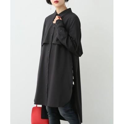 (osharewalker/オシャレウォーカー)『立体デザインロングシャツ』/レディース ブラック