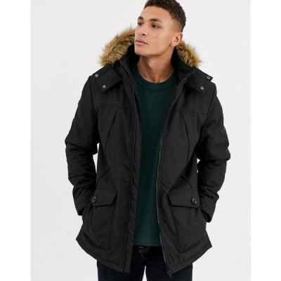 スリードベア Threadbare メンズ コート アウター parka with faux fur hood in black ブラック