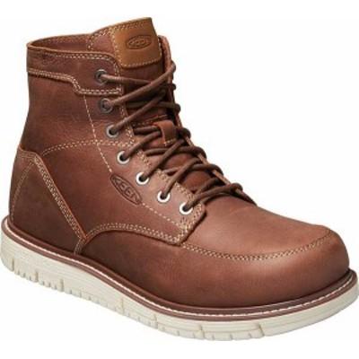 """キーン メンズ ブーツ・レインブーツ シューズ Men's KEEN Utility San Jose 6"""" Soft Waterproof Work Boot Gingerbread/Off White"""