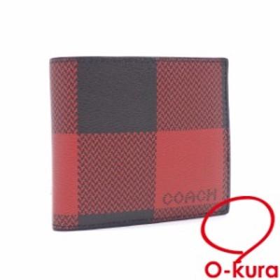 中古 コーチ 二つ折り 財布 メンズ レッド ブラック 赤 黒 レザー