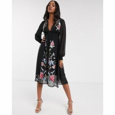 エイソス ASOS DESIGN レディース ワンピース ワンピース・ドレス embroidered long sleeve button through midi dress with shirred wai