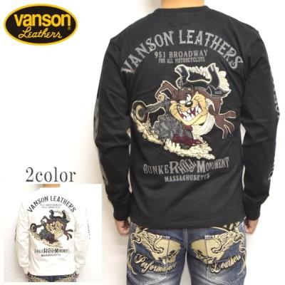 バンソン VANSON ルーニーテューンズ LTV-2019 天竺 長袖Tシャツ ロンT タスマニアンデビル バイク バイカー トップス メンズ