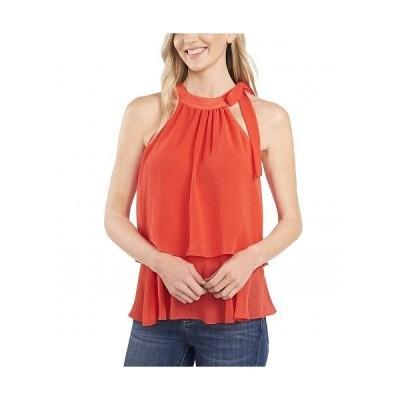 CeCe レディース 女性用 ファッション ブラウス Sleeveless Tiered Ruffle Blouse w/ Bow - Coral Sunset