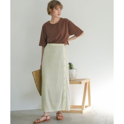 スカート レイヤードニットスカート/ウール混伸縮性ありウエストゴムくるみボタンロングスカート