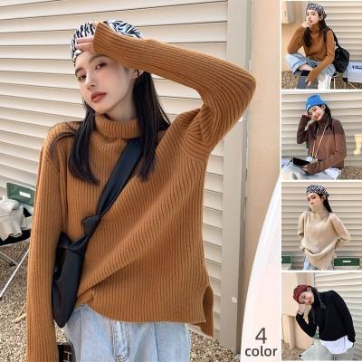 【高品質限定120個発売】冬の新型ハイネック保温セーターファッションスリットデザイン  合計4色