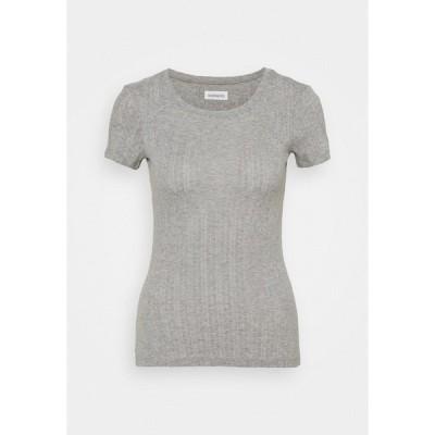 エブンアンドオッド Tシャツ レディース トップス Print T-shirt - mottled grey