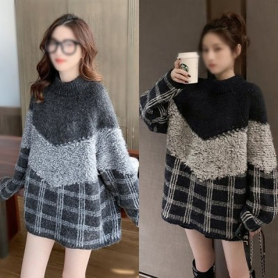 ニットセーター レディース ハイネック 2色 無地 長袖 大人 ゆったり 着やすい セーター パフスリーブ 人気 秋冬