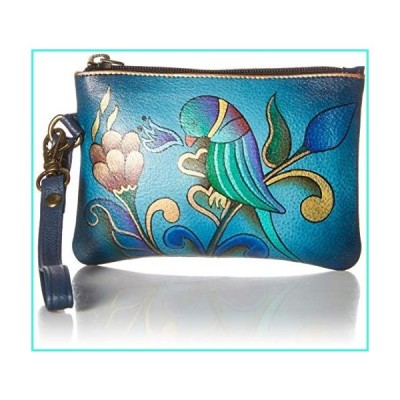 【新品】Anna by Anuschka Hand Painted Leather | Medium Organizer Pouch / Coin Purse | Portuguese Parrot Denim(並行輸入品)