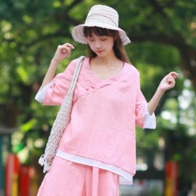 2点送料無料 レディース 中国風 春夏 Tシャツ 新作 トップス チャイナ風 ゆったり 大きいサイズ Tシャツ 花柄 気質 スリムTシャツ ナチ