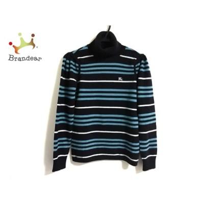 バーバリーブルーレーベル 長袖セーター サイズ38 M レディース - 黒×白×ライトブルー 新着 20200725