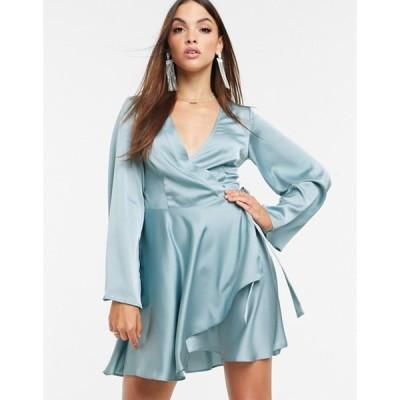 ミスガイデッド レディース ワンピース トップス Missguided satin wrap skater dress with tie side in blue