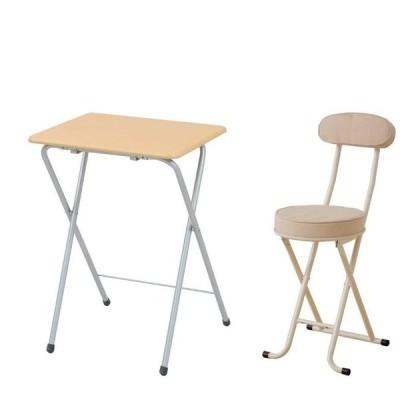 【セット買い】山善(YAMAZEN) 折りたたみミニテーブル(ハイ)テーブル サイドテーブル 折りたたみテーブル ナチュラル YST-5040H(NA