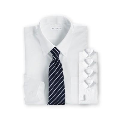 形態安定長袖ワイシャツ5枚組(ボタンダウン) 大きいサイズメンズ (ワイシャツ)Shirts, テレワーク, 在宅, リモート