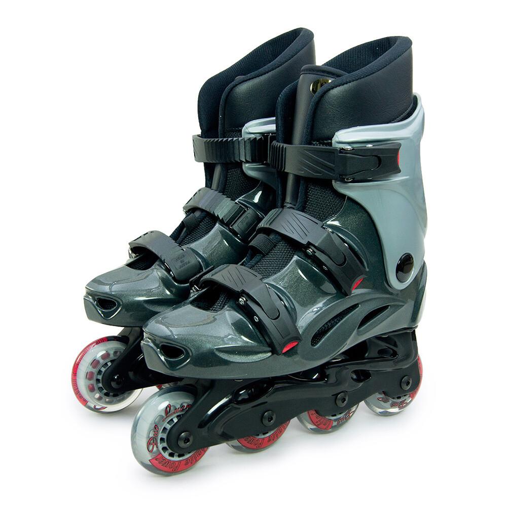 d.l.d 多輪多 高塑鋼底座 專業直排輪 溜冰鞋 鐵灰銀 530