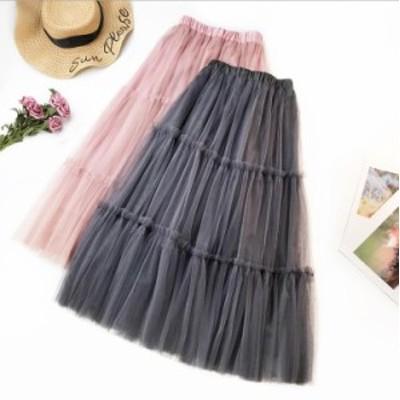ティアードスカート チュールスカート 4色 フレアスカート プリンセス風 チュールドレス Aライン ロングスカート 裏地で透けない 着痩せ