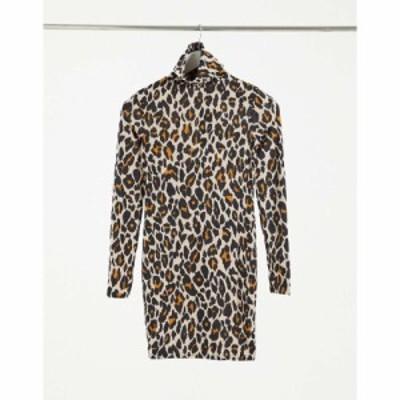 アイソウイットファースト I Saw It First レディース ワンピース One Shoulder Ruched Side Slinky Midi Dress In Yellow Leopard レオ