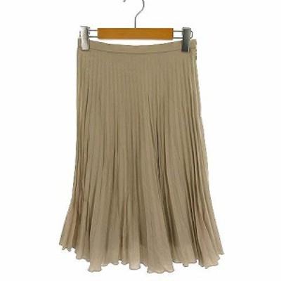 【中古】ストロベリーフィールズ STRAWBERRY-FIELDS スカート プリーツ フレア ひざ丈 膝丈 ベージュ